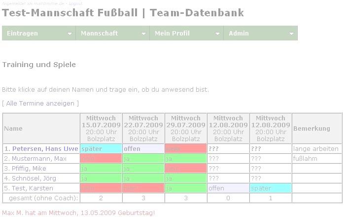 Team-Datenbank